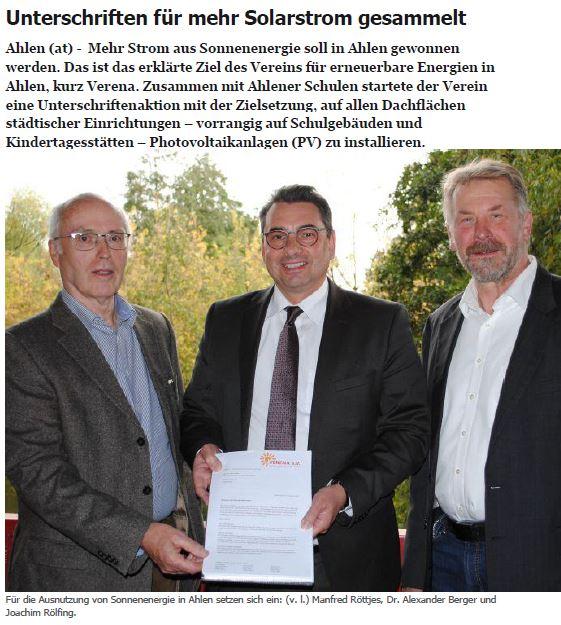 Unterschriften für mehr Solarstrom gesammelt